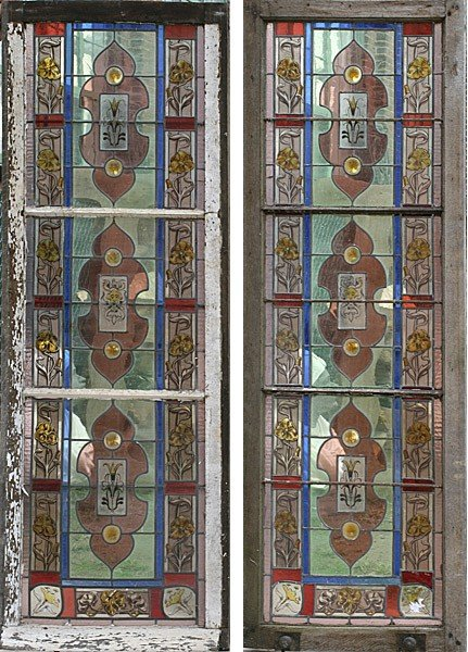 24: 2 LARGE FRENCH STAINED GLASS ART NOUVEAU PANELS