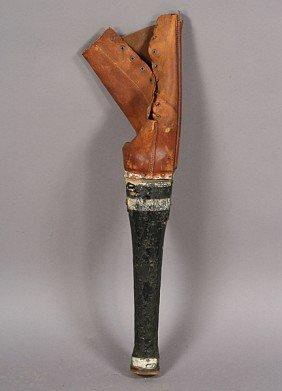 176 Antique Leather Wood Peg Leg C 1890