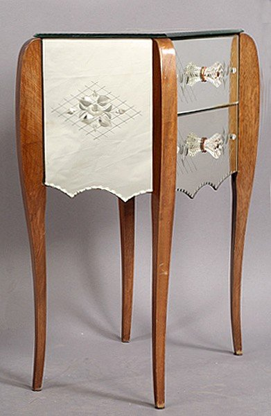 2: SINGLE MIRRORED SIDE TABLE ETCHED DRAWERS