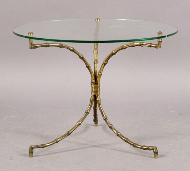 5: FRENCH BAQUES FAUX BAMBOO GLASS TOP TABLE