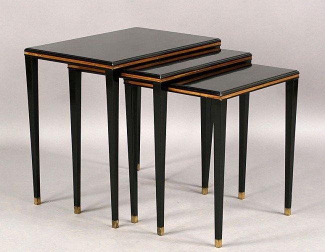 6: SET 3 EBONIZED GILT TRIMMED NESTING TABLES