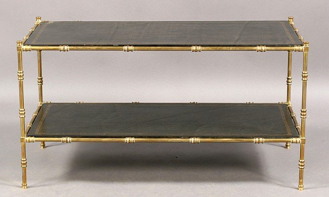 7: FAUX BAMBOO BRASS COFFEE TABLE INSET LEATHER TOP