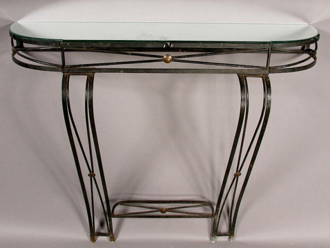9: REGENCY STYLE IRON AND BRASS CONSOLE MIRRORED