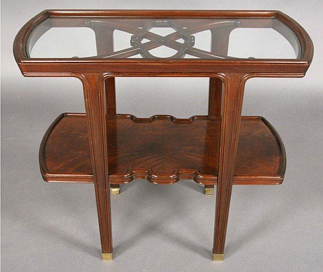 10: VINTAGE ART NOUVEAU STYLE MAHOGANY GLASS TABLE