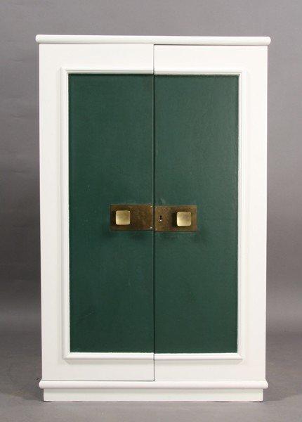 11: MID CENTURY MODERN 2 DOOR WHITE GREEN CABINET