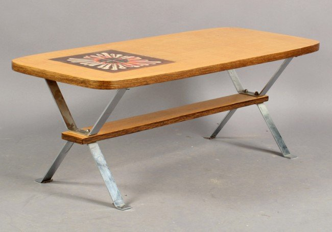 13: FRENCH ROGER CAPRON COFFEE TABLE PATCHWORK OAK