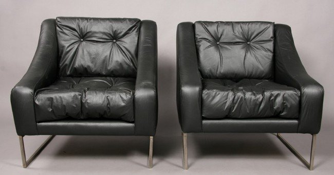 17: PAIR MODERN LOUNGE CHAIRS UPHOLSTERED STEEL