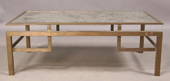 21: MODERN BRASS SMOKED GLASS VINTAGE COFFEE TABLE