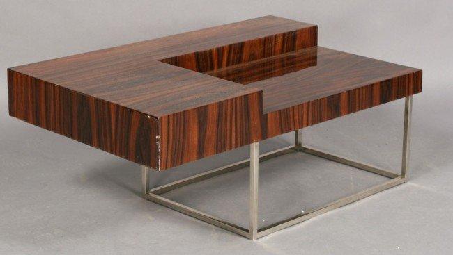23: MID CENTURY MODERN MACASSAR CHROME TABLE