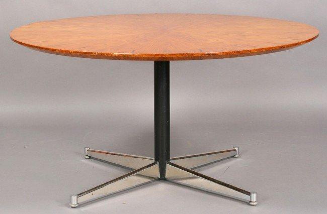 24: MID CENT MOD VENEER CHROME DINING TABLE
