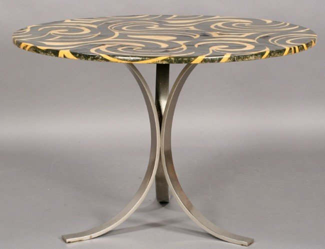 25: MID CENT MOD LAMINATED METAL SWIRL DINING TABLE