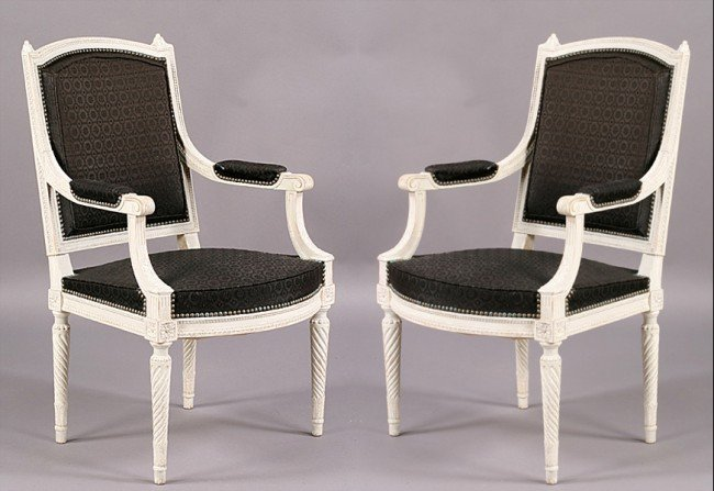 60: PAIR FRENCH CARVED PAINTED FAUTEUILS CHAIRS