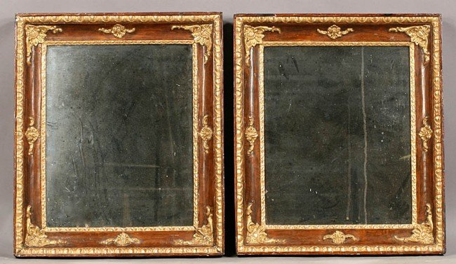 61: PAIR FRENCH GILTWOOD PAINTED MIRRORS