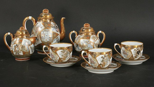 14: ANTIQUE JAPANESE PORCELAIN COFFEE SERVICE