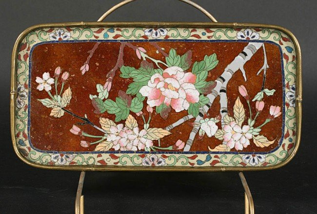 17: ANTIQUE JAPANESE CLOISONNE TRAY PEONIES