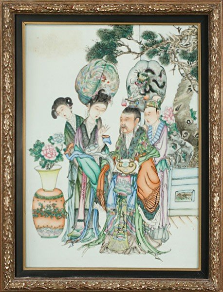 19: 20TH C. CHINESE PORCELAIN FIGURATIVE PLAQUE