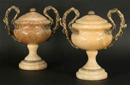 124 PR CARVED MARBLE BRONZE MOUNTED URNS