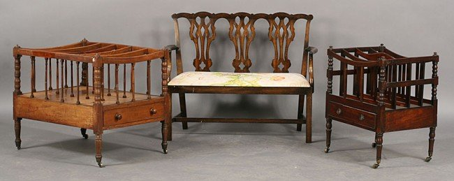 256: 3 PC LOT: 2 ANTIQUE SHERATON CANTERBURIES & BENCH
