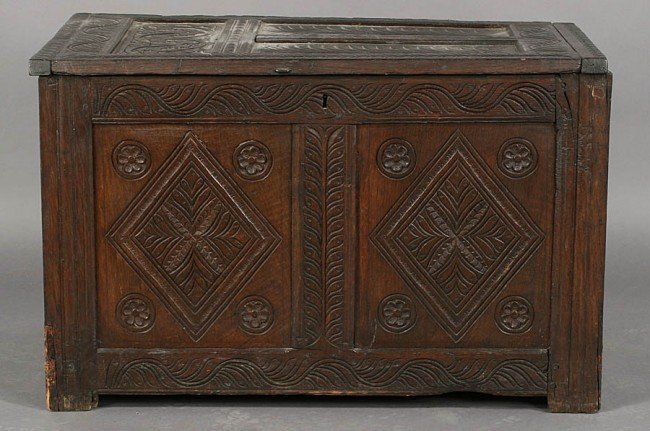 257: ANTIQUE CONTINENTAL CARVED OAK LIDDED BOX C.1800