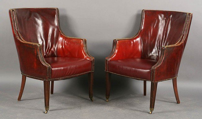 258: PR REGENCY STYLE LEATHER VINTAGE ARMCHAIRS C.1940
