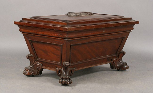 261: ANTIQUE REGENCY STYLE MAHOGANY CELLARETTE