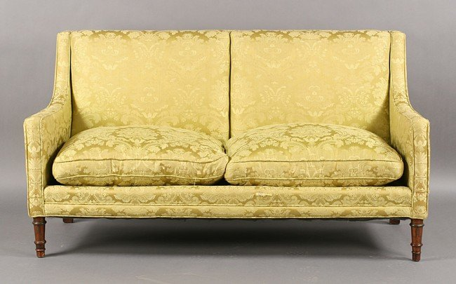 264: ANTIQUE ENGLISH SOFA ADAMS STYLE LEGS C.1890