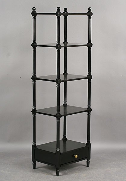 267: REGENCY STYLE EBONIZED FIVE SHELF ETEGERE