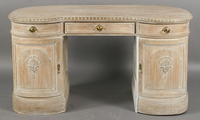 268: ANTIQUE ENGLISH STYLE CERUSED KIDNEY SHAPED DESK