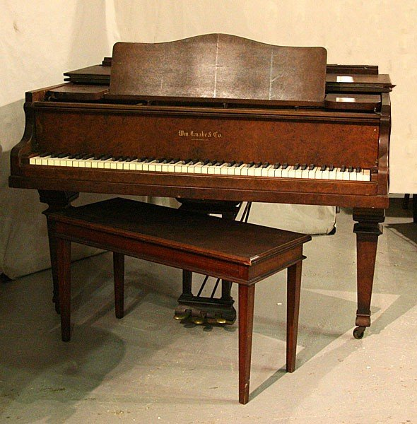 272: ANTIQUE WILLIAM KNABE & CO BURLED WALNUT PIANO