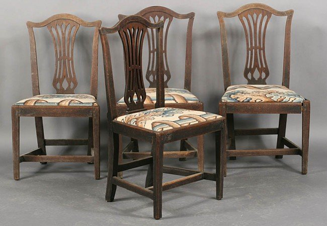 275: SET 4 ANTIQUE OAK CHIPPENDALE STYLE SIDE CHAIRS
