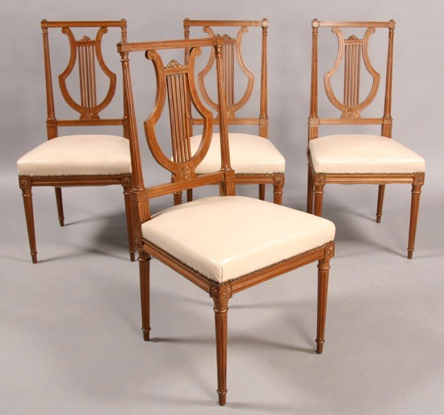 277: SET OF 4 JANSEN DIRECTOIRE STYLE SIDE CHAIRS LYRE