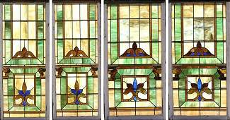 603: TWO PAIRS STAINED STAIN GLASS WINDOWS