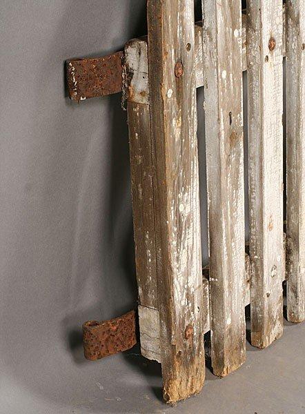 705: PAIR VINTAGE WOOD PICKET GARDEN GATES OLD PAINT - 6