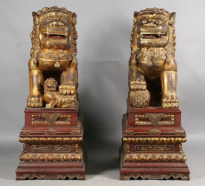 11: PAIR CHINESE GILT WOOD CARVED FOOD DOGS