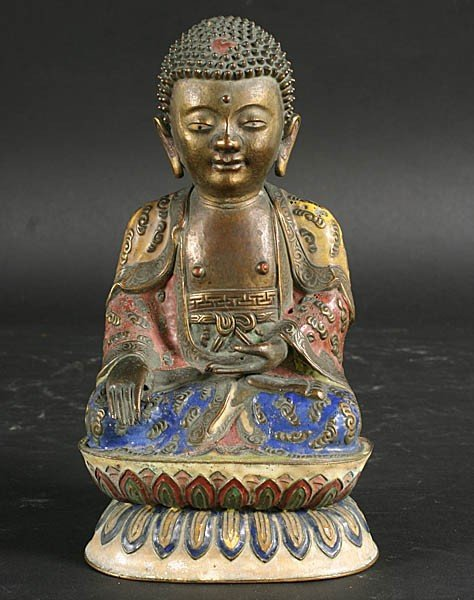 14: UNUSUAL ENAMELED WEIGHTED COPPER BUDDHA