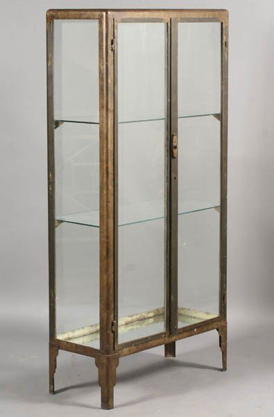 429: METAL VITRINE 2 GLASS FRONT DOORS ART DECO FEET