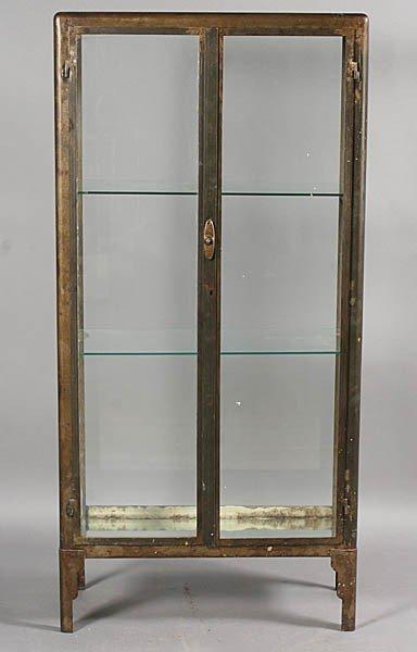 429: METAL VITRINE 2 GLASS FRONT DOORS ART DECO FEET - 2