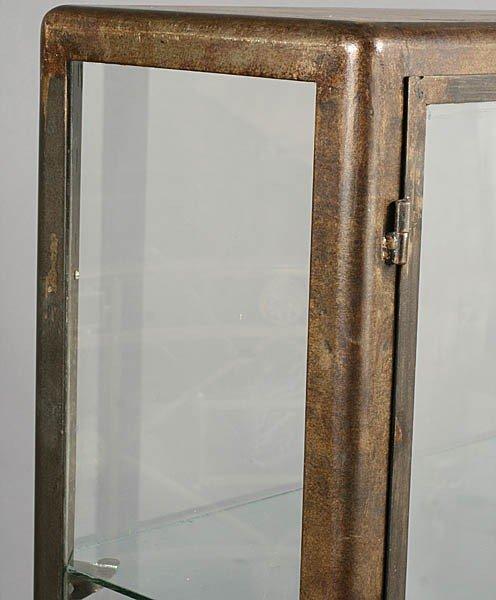 429: METAL VITRINE 2 GLASS FRONT DOORS ART DECO FEET - 3