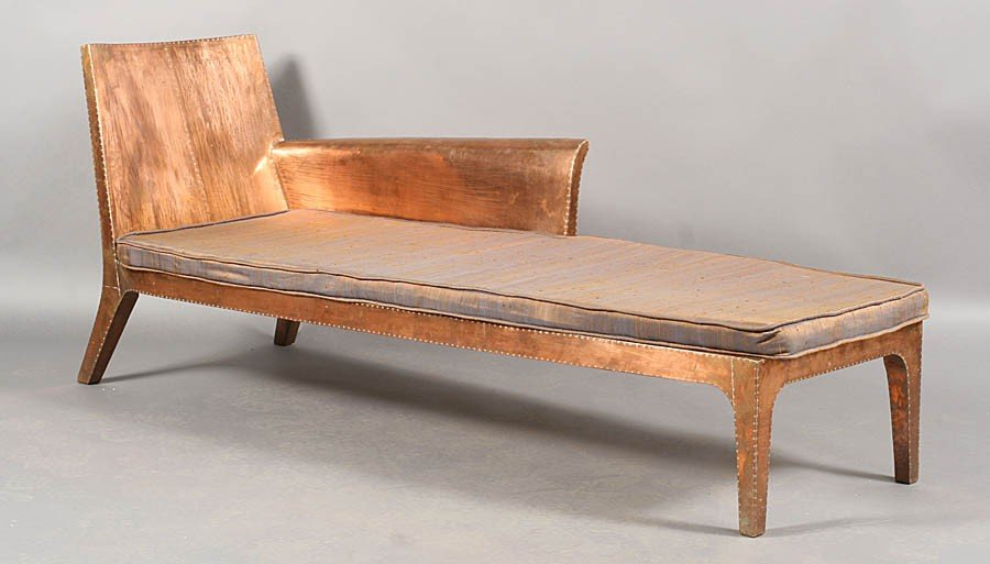 463: COPPER CLAD CHAISE LOUNGE WITH RIVETED DECORATION