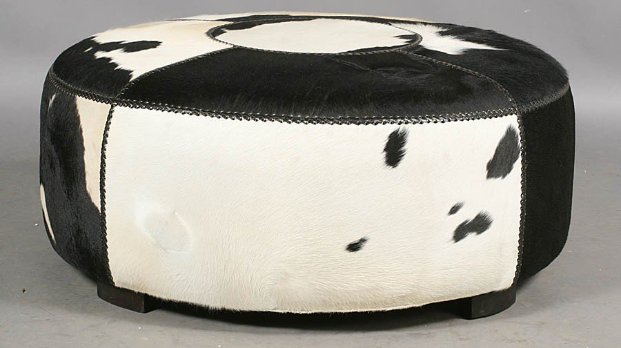 497: MODERN ROUND COWHIDE UPHOLSTERED OTTOMAN - 2