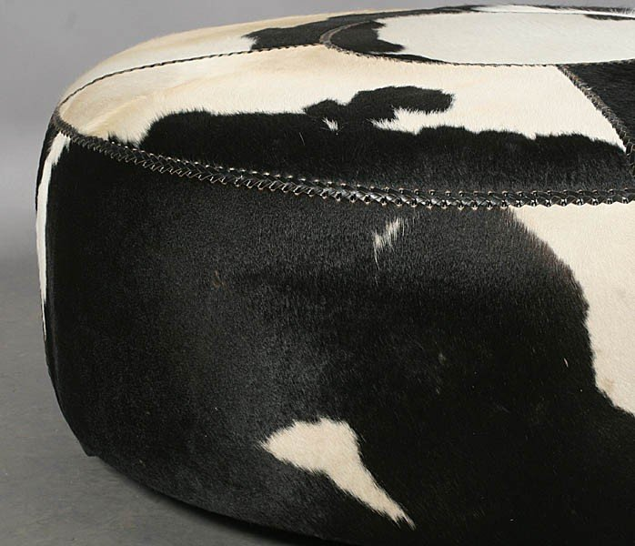 497: MODERN ROUND COWHIDE UPHOLSTERED OTTOMAN - 4