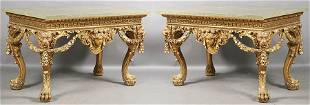557: PR WILLIAM KENT STYLE MARBLE CONSOLE TABLES