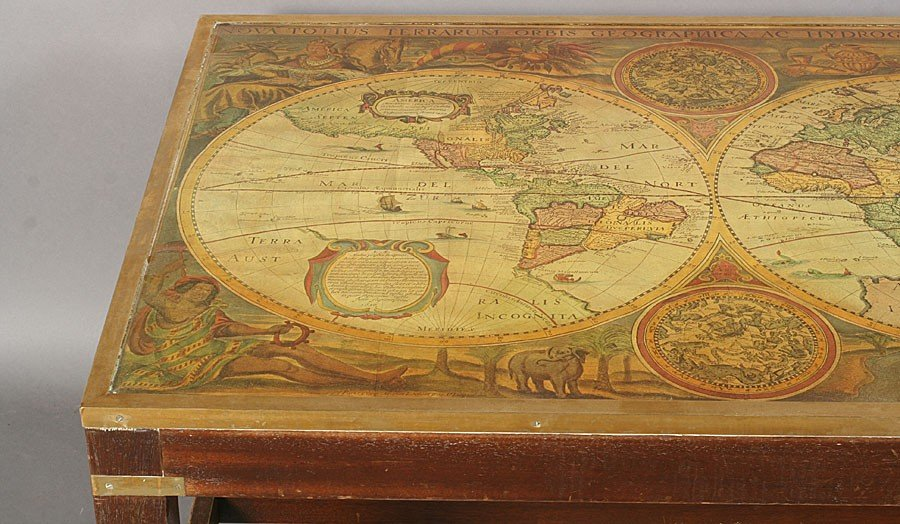 728: FRENCH COFFEE TABLE FRAMED WORLD MAP BRASS LEGS - 3