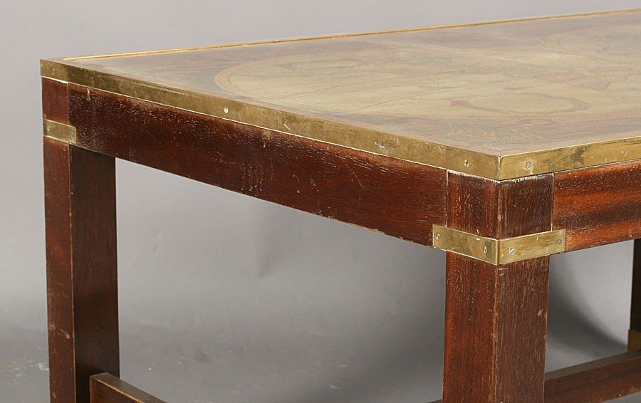 728: FRENCH COFFEE TABLE FRAMED WORLD MAP BRASS LEGS - 4