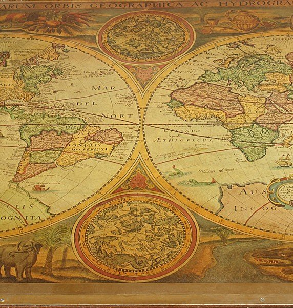 728: FRENCH COFFEE TABLE FRAMED WORLD MAP BRASS LEGS - 6