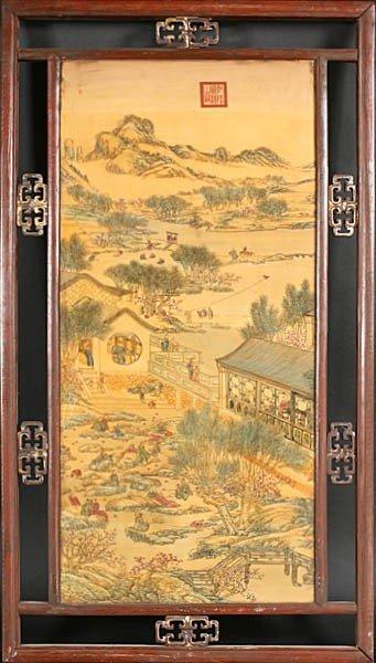 19A: CHINIESE PORCELAIN PLAQUE VILLAGE LANDSCAPE