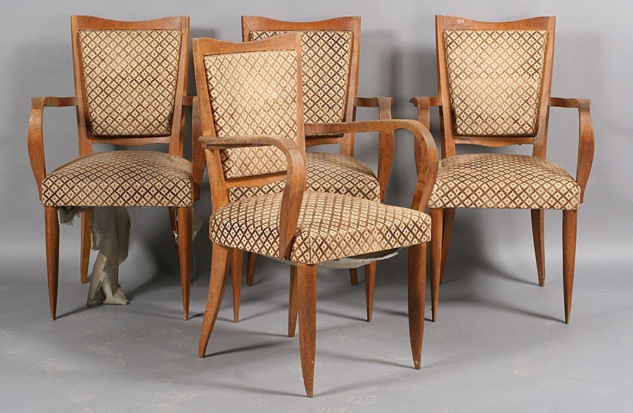 1: SET 4 VINTAGE FRENCH OAK ARM CHAIRS C.1940