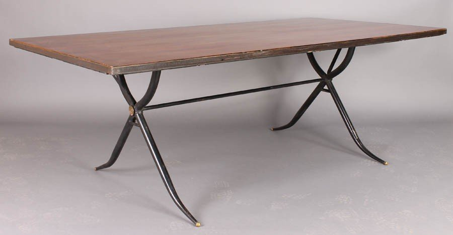 3: MODERN DINING TABLE WOOD TOP WROUGHT IRON BASE