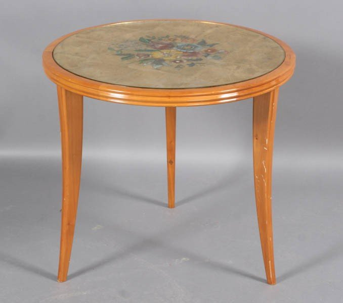4: ITALIAN OCCASIONAL TABLE EGLOMISE TOP CHAMFERED