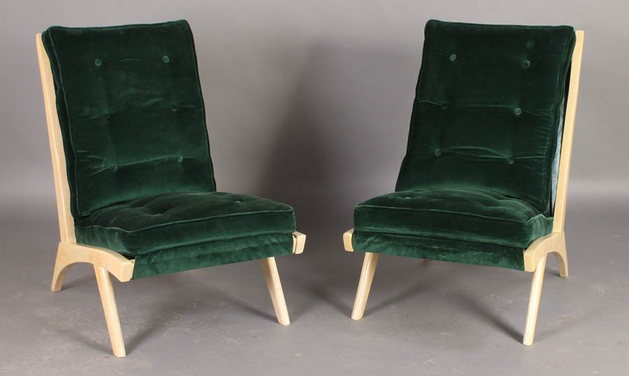 7: PAIR MODERN BLEACHED SYCAMORE LOUNGE CHAIRS